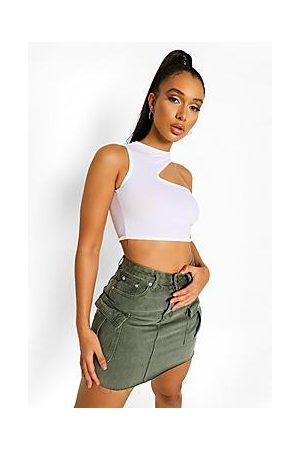 Boohoo Washed Pocket Denim Skirt