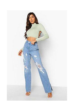 Boohoo High Waist Distressed Split Hem Jeans