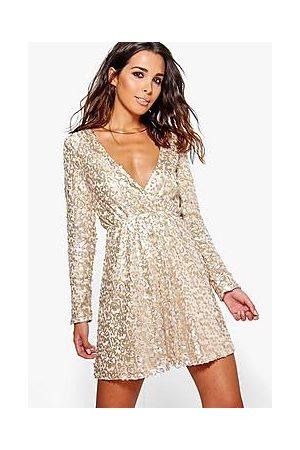 Boohoo Boutique Sequin Wrap Skater Dress