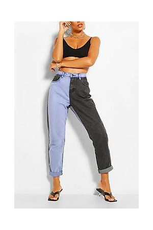 Boohoo Contrast High Rise Mom Jeans