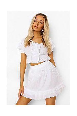Boohoo Shirred Puff Sleeve Top & Ruffle Hem Skirt