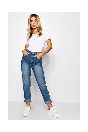 Boohoo Petite Mid Wash Classic Mom Jeans