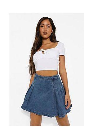 Boohoo Mini Denim Tennis Skirt