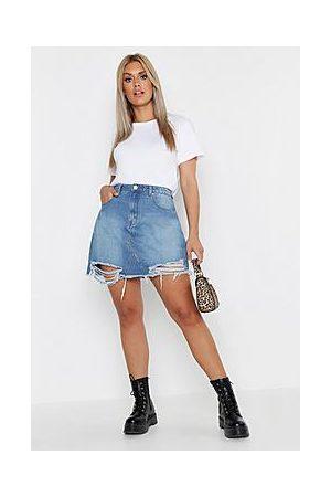Boohoo Plus Distressed Hem Denim Skirt