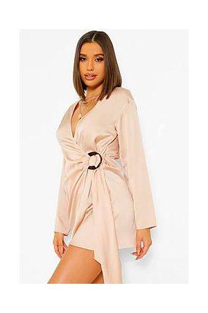 Boohoo Satin Wrap Shirt Style Dress