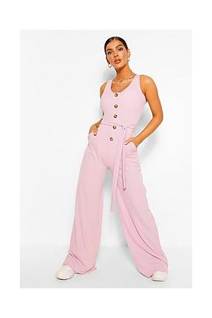 Boohoo Horn Button Ribbed Tie Belted Jumpsuit