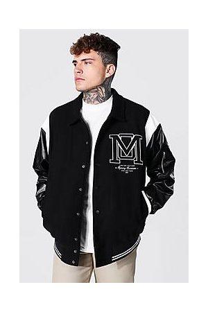 Boohoo Oversized Om Harrington Varsity Jacket