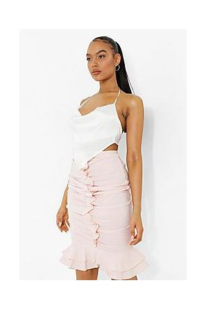 Boohoo Ruched Front Woven Ruffle Maxi Skirt