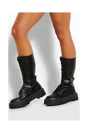 Boohoo Lace Front Chunky Knee High Hiker Boots