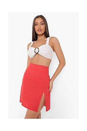 Boohoo Linen Mix Split Woven Mini Skirt
