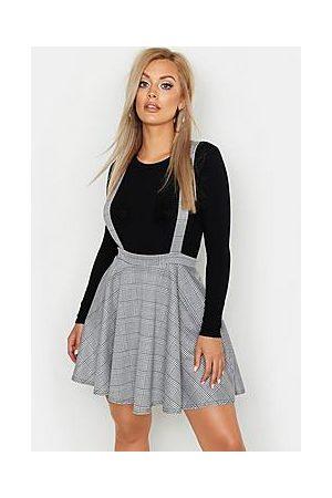 Boohoo Plus Dogtooth Check Pinafore Skirt