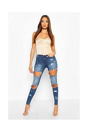 Boohoo Distressed High Waist Skinny Jeans