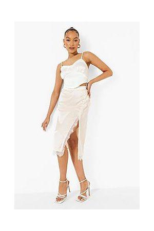 Boohoo Lace Detail Split Front Satin Midi Skirt