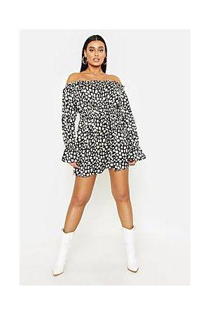 Boohoo Plus Leopard Satin Ruffle Wrap Dress