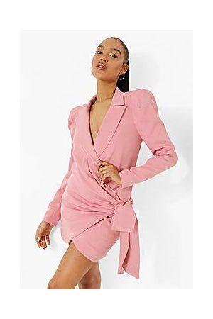 Boohoo Wrap Extreme Shoulder Blazer Dress