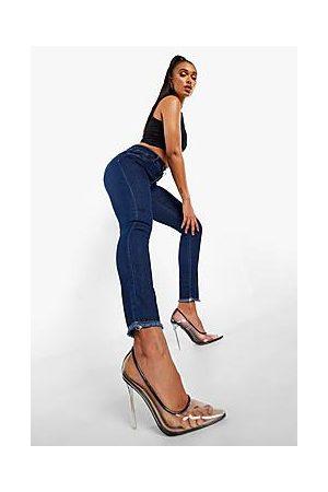 Boohoo High Waist Frayed Hem Skinny Jeans