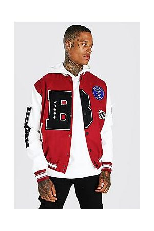 Boohoo B Varsity Patch Bomber With Leather Look Sleeves