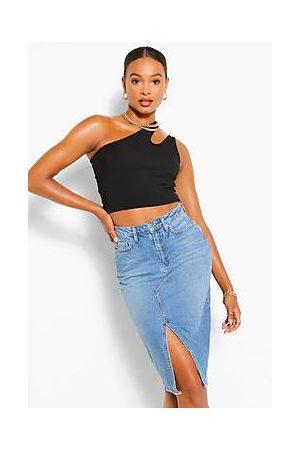 Boohoo Tall Split Front Denim Midi Skirt