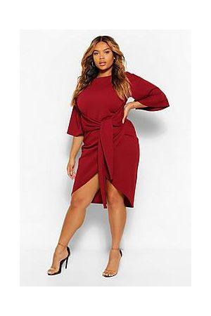 Boohoo Plus Kimono Sleeve Wrap Over Midi Dress
