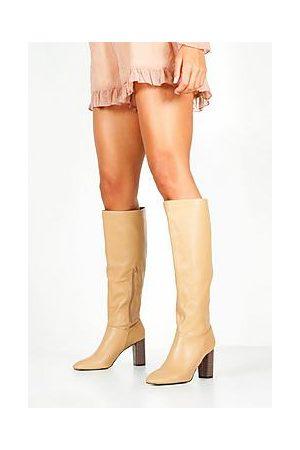 Boohoo Block Heel Knee High Boots