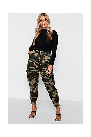 Boohoo Plus Ripped Pocket Denim Camo Cargo Jeans