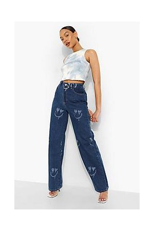 Boohoo All Over Face Print Boyfriend Jeans