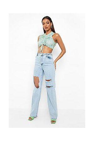 Boohoo Ripped Boyfriend Jeans With Bleach Splatter