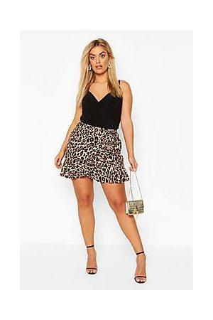 Boohoo Plus Leopard Print Ruffle Skater Skirt