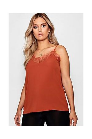 Boohoo Plus Lace Detail Woven Cami Top