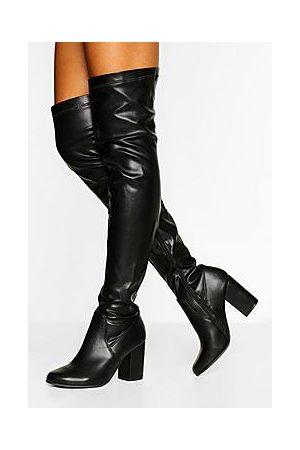Boohoo Wider Calf Block Heel Over The Knee Boot