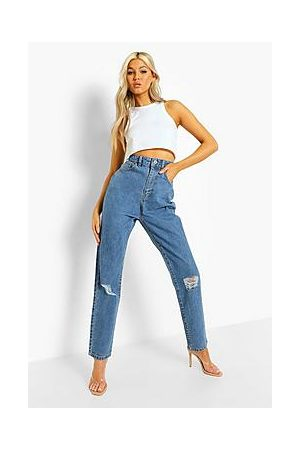 Boohoo Tall Classic High Rise Distressed Mom Jeans