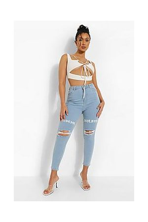 Boohoo Naiset Boyfriend - Distressed Skinny Jeans With Thigh Print