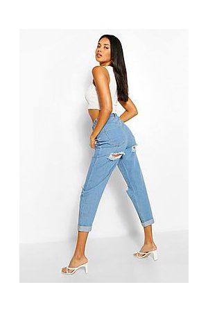 Boohoo High Rise Bum Rip Mom Jeans
