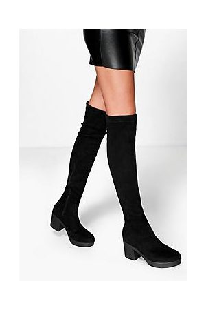 Boohoo Cleated Stretch Over The Knee High Boots