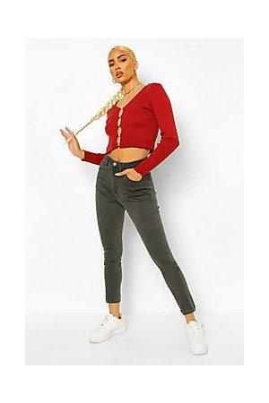 Boohoo Naiset Boyfriend - High Waist Skinny Jeans