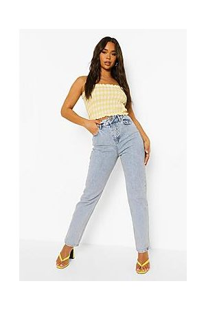 Boohoo Straight Leg Jeans With Lace Up Detail
