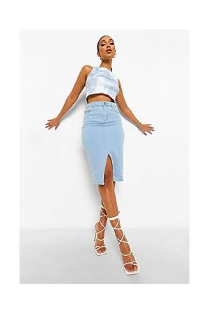 Boohoo Split Front Midi Denim Skirt