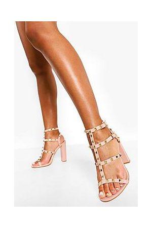 Boohoo Patent Studded Block Heel Sandal