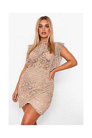 Boohoo Plus Lace High Neck Ruffle Wrap Dress