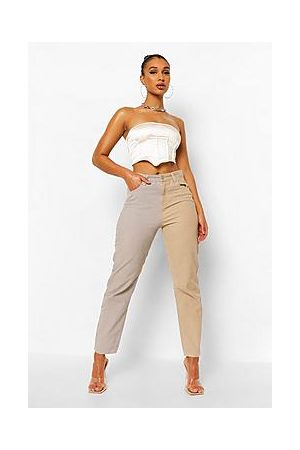 Boohoo Contrast Cord Relaxed Straight Leg Jeans
