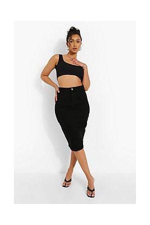 Boohoo Stretch Denim Midi Skirt