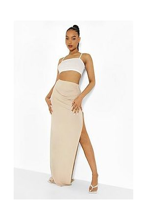 Boohoo Gathered Thigh Split Maxi Skirt