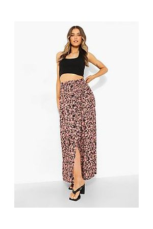 Boohoo Button Front Ditsy Floral Maxi Skirt