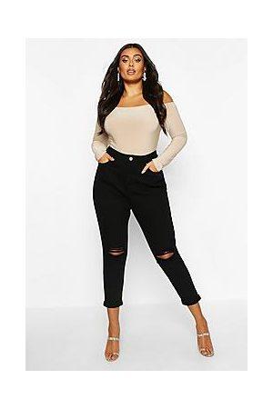 Boohoo Plus High Waist Rip Knee Mom Jeans