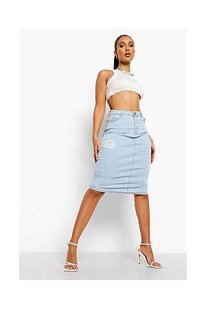 Boohoo Distressed Denim Midi Skirt