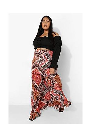 Boohoo Plus Paisley Maxi Skirt