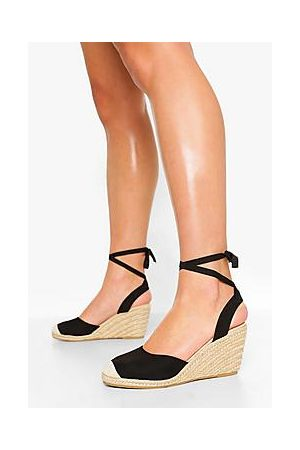 Boohoo Wide Fit Wrap Up Espadrille Wedges