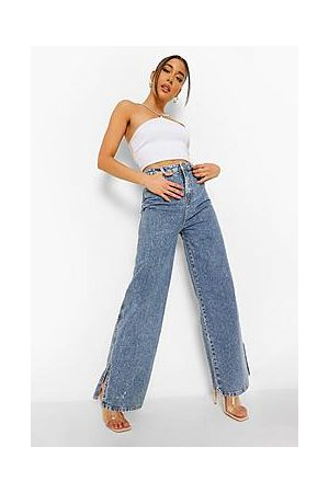 Boohoo Vintage Wash Wide Leg Split Hem Jeans