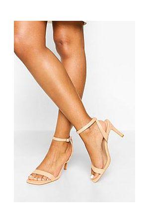 Boohoo Wide Fit Square Toe Mid Height Heeled Sandal