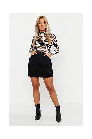 Boohoo Plus Western Distressed Denim Skirt